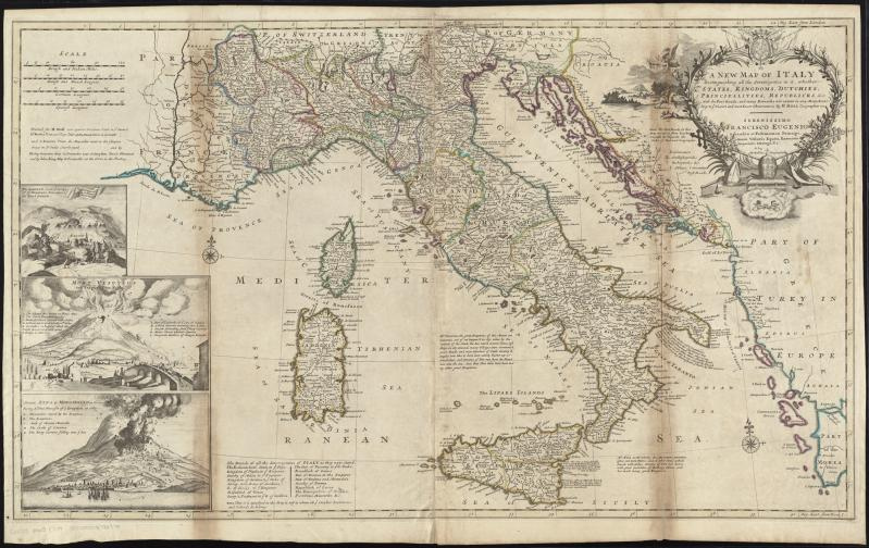A new map of Italy distinguishing all the sovereignties in it, whether states, kingdoms, dutchies, principalities, republicks, &c. : with the post roads, and many remarks not extant in any map