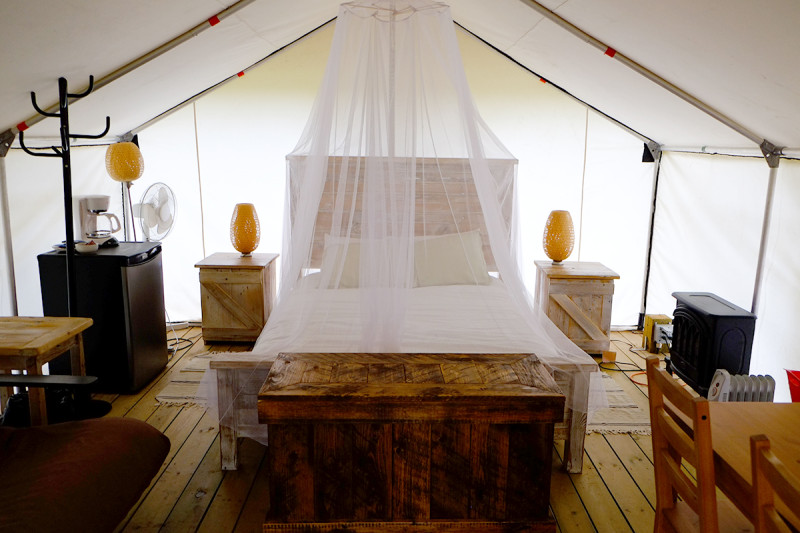Comfort camping tent on the inside- Glamping in Dinosaur Provincial Park