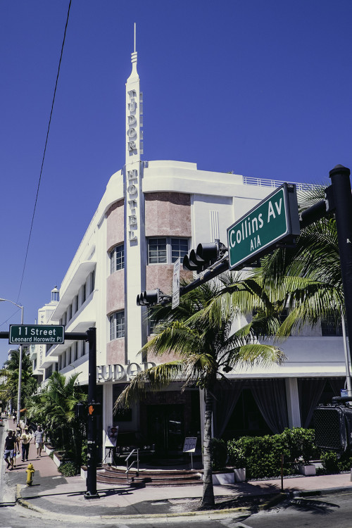 The Tudor Hotel. One of the many Art Deco style hotels along Collins Avenue.