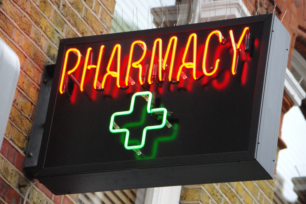 Pharmacy sign in Soho gluten allergy