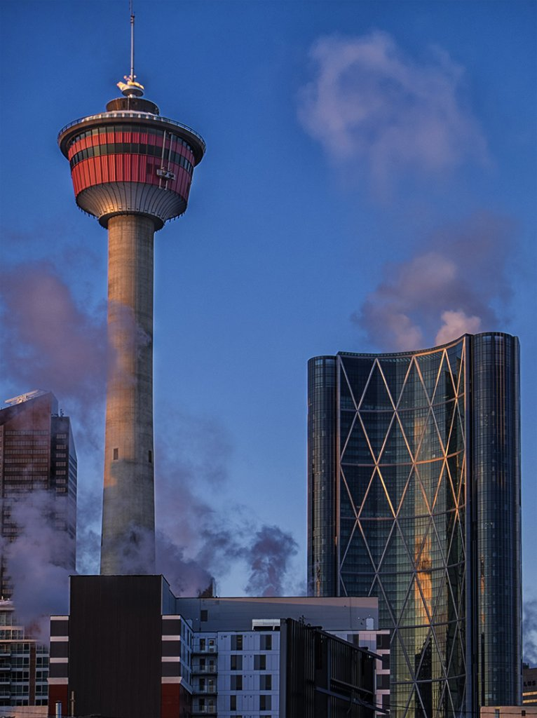 Calgarys best attractions- Calgary Olympic Tower lit up with flames