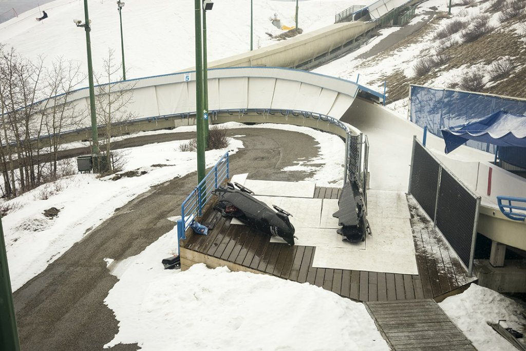 Public bobsleigh Calgary- Checking the sled before we ride