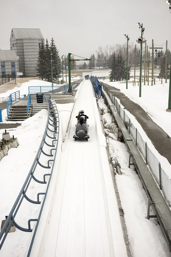 Public bobsleigh Calgary- Approaching the finish line!