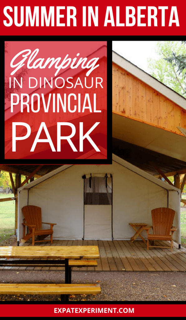 Dinosaur Provincial Park, a UNESCO World Heritage Site in the middle of Southern Alberta's vast Badlands is enormous, almost 20000 acres, making it remote. Without a tent or a trailer, it's a long way to find a place to stay for the night. Taking advantage of the comfort camping tents set up in the park is a great way to stay and enjoy all the park has to offer.
