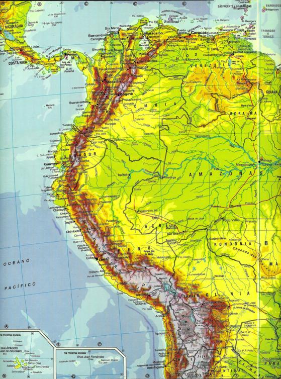 Mapa de América del Sur (Sudamérica) - mapa da América do Sul - map of South America