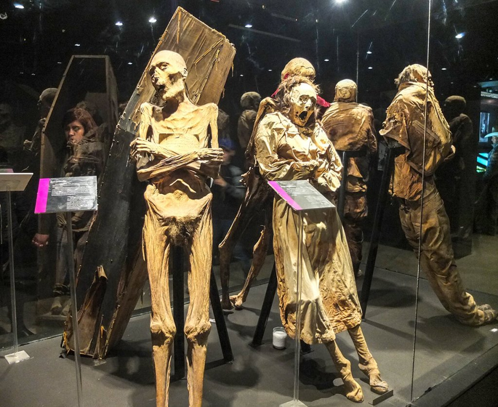 These are mummies, some still dressed in original death clothes at Museo de las Momias de Guanajauto- The Mummy Museum in Guanajuato