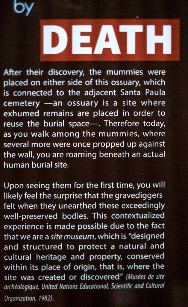A sign explaining what happened to create the mummies of Guanajuato at Museo de las Momias de Guanajauto- The Mummy Museum in Guanajuato