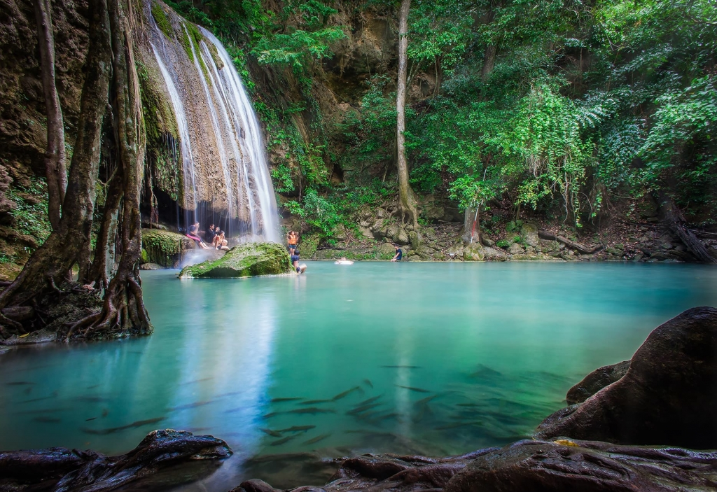 Thailand's most beautiful waterfall Erawan Falls